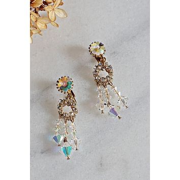Vintage Aurora Borealis  Crystal Chandelier Earrings
