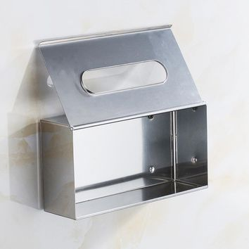 Stainless Steel Toilet Paper Tissue Pull Boxes BathRoom Desktop Storage Organizers Phone Stand WC Paper