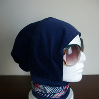 Blue Corduroy with Red White and Blue Hijab Hat No 2 by HijabHats
