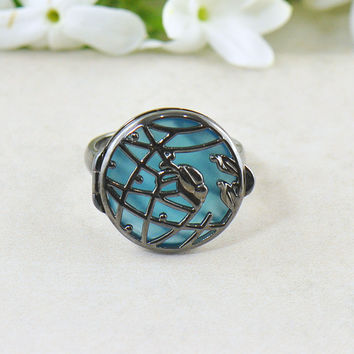 Wildflower Blue Chalcedony Ring in Black Rhodium
