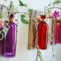 Tropical Sunset Wall Decor Collection of  Colored Bottles each mounted on Wood Base for unique bedroom decor kitchen decor