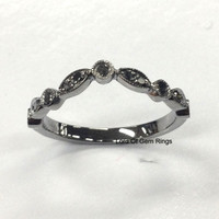 Black Diamond Wedding Band Half Eternity Anniversary Ring 14K White Gold Curved Art Deco Antique