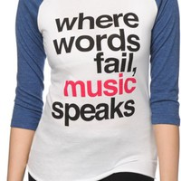 Jac Vanek Music Speaks Baseball Tee