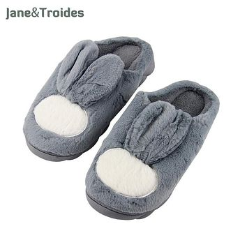 Winter Fluffy Cute Rabbit Slippers For Men Thicken Anti Slip Warm Floor Flip Flops Casual Plush Slipper Fashion Man Indoor Shoes