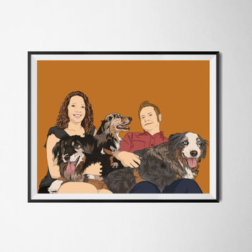 One or Two persons & 1,2,3,4,5 pets. Family portrait. Custom drawing. Christmas gift. Gift for couples. Bespoke portrait from photo.