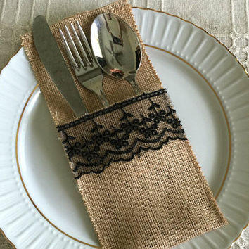 10 burlap and black color lace rustic silverware holder, wedding, bridal shower, tea party table decoration