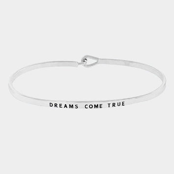 """Dreams Come True"" Skinny Mantra Cuff Bracelet"