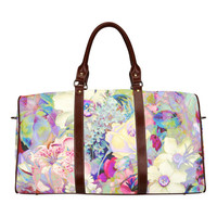 summery floral Waterproof Travel Bag/Small (Model 1639) | ID: D747734