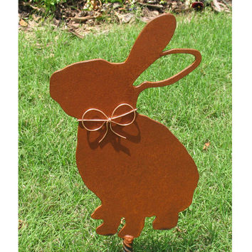 Rabbit Bunny Metal Garden Stake - Metal Yard Art - Metal Garden Art - Pet Memorial