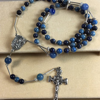 Vintage Sterling Silver Rosary with Light and Dark Blue Beads