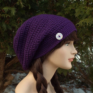 Purple Slouch Beanie - Womens Slouchy Crochet Hat - Ladies Oversized Cap with Button - Hipster Hat - Baggy Beanie