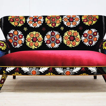 Suzani 2 seater sofa - claret red