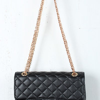 Wide Quilted Leatherette Bag
