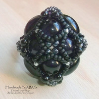 Gothic beadwork ring - Black onyx and dark purple agate, size 7.75, Statement ring, Black ring, Stone ring, Ring for her, Gift for her
