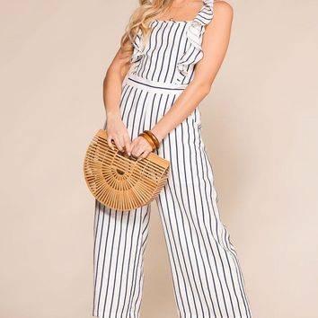 On The Shore White Striped Tie-Back Jumpsuit