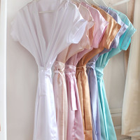 Set of 6 Bridesmaids and Bride Robes, Satin Robe, Bridal Robe, Pastel Robes, Pastel Satin Robe