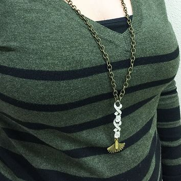 Full Length ACHS Necklace with Ginkgo Leaf Pendant