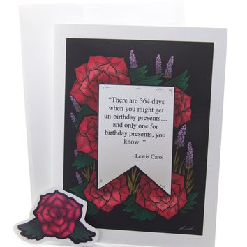 Alice in Wonderland Unbirthday Quote Floral Greeting Card