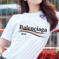 "Hot Sale ""Balenciaga"" Fashion Women Men Loose Letter Print Short Sleeve Round Collar T-Shirt Top White I12203-1"