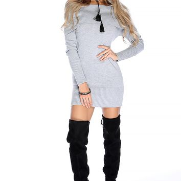Sexy Grey Off The Shoulder Long Sleeve Bodycon Sweater Dress