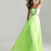 Lime Chiffon Beaded Key Hole Sweetheart Prom Dress - Unique Vintage - Cocktail, Pinup, Holiday & Prom Dresses.