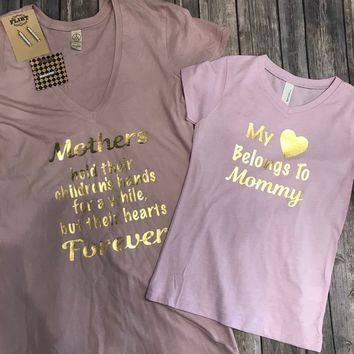 My Heart Mom and Child V-Neck T-shirt