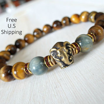 Elephant bracelet, Blue Tiger eye, Brown Tiger eye, Elephant Mala, Yoga bracelet, Energy bracelet, wrist mala, Reiki charged, wisdom Mala