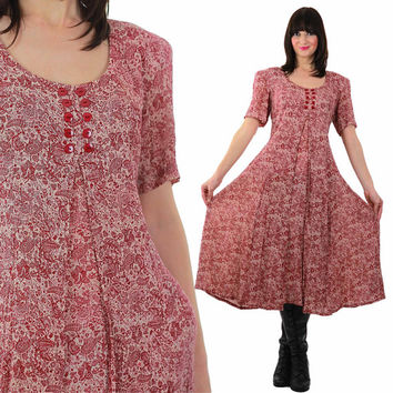 Boho maxi Dress Hippie Dress Vintage 90s Grunge Dress Paisley Dress Peasant Dress Festival Dress Bohemian Dress Red Maxi Dress Retro Dress