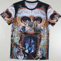 Men Michael Jackson Rock Print T-shirts The Big Bang Theory Sheldon Harajuku Blusas Summer Style T Shirts Plus Size Tshirts Tees