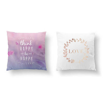 SET of 2 Pillows, Think Happy Pillow, Love Flowers, Bed Pillow, Throw Pillow, Cushion Cover, Gold Pillow, Inspirational Quote, Positive Art