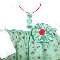 Christmas Baby  Dress , Mint and red Christmas  Dress,  Snowflake Baby Dress, Holiday Baby Clothes, Bodysuit Dress