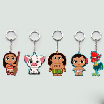 1Pcs/set Cute Movie Series Princess Moana Principessa Baby Maui Cute Cartoon Keychain Keyring Toy Figures For Kids Gift