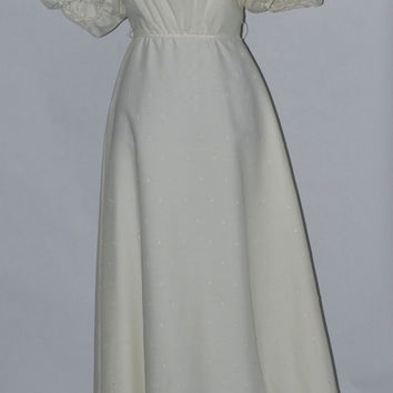 Vintage 1970's Ivory, eyelet, puff-sleeve Wedding Maxi Dress.