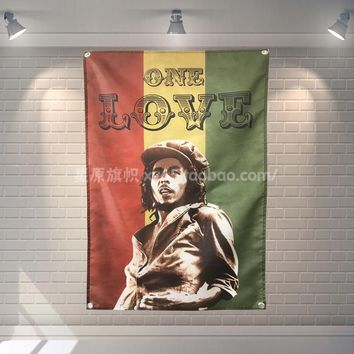 Bob Marley One Love Banner Music Rock Band Reggae Jamaica Home Decoration Hanging flag 4 Gromments in Corners 3*5FT 144cm*96cm