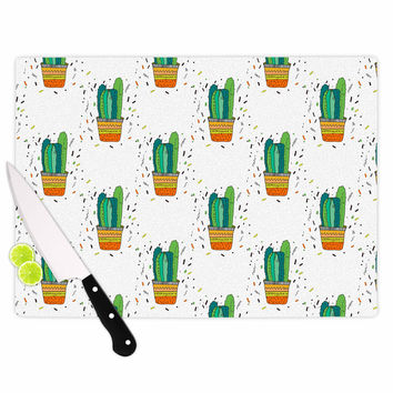 "Vasare Nar ""Cacti Cactus Fiesta"" Green White Art Deco Sage Cutting Board"