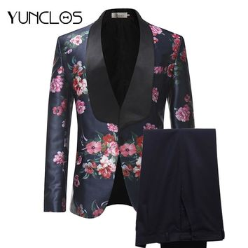 YUNCLOS 2018 New Arrival Men Suits Burgundy Floral Printed 2 Pieces Set Tuxedo Groomsman Wedding Suits Terno Masculino