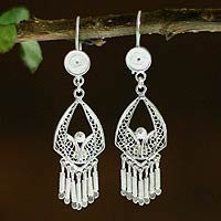 Sterling silver chandelier earrings, Inca Royal