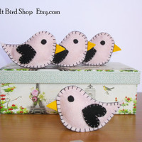 Felt birds. Pink and black felt birds. Set of 4 felt birds ornaments.