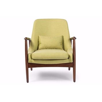 Carter Mid-Century Modern Retro Green Fabric Upholstered Leisure Accent Chair By Baxton Studio