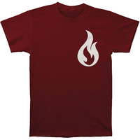 Like Moths To Flames Men's  Flame T-shirt Maroon Rockabilia