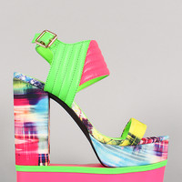 Privileged Abstract Printed Quilted Cutout Platform Wedge