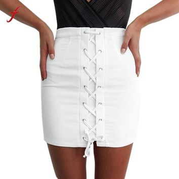 Fashion Summer Denim Skirt Women High Waist Slim Package Hip Party Club Bandage Skirt Casual Mini White Skirts