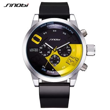Men's Sports Watches Waterproof Yellow Dial Man Full Steel Chronograph Quartz Wrist Watch Racing