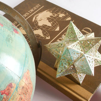 Sacred Geometry Earth Star Model Kit - Repurposed Book Pages