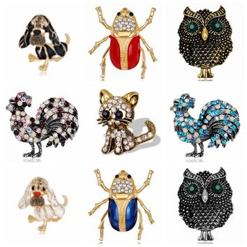 9 style Natural animals Brooch pins owl dog chicken insect cat Brooches For women Crystal Costume Jewelry