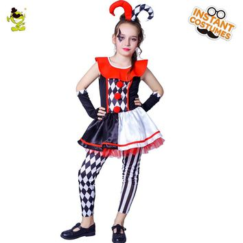 Girl's Evil Jester Costume  Deluxe Circus Girl Cosplay Costumes Kids Canival Party Pretty Evil Jester Fancy Outfits