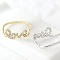 1piece Love Letter Ring Women's Infinite Love Ring Best Friend Ring Jewelry Gold Silver Gift Idea