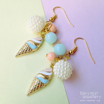 Ice Cream Earrings Pastel Summer Charms, Cute and Sweet Gold Blue Orange Beads, Shinny Berry Bead Girly Style