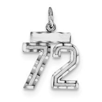Small #72 Charm in Sterling Silver