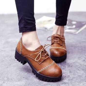 CREYUG3 Summer England Style Vintage Round-toe With Heel Korean Shoes [6366208580]